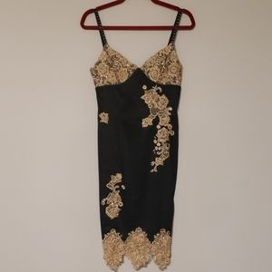Cache Black Lace Beaded Cocktail Dress